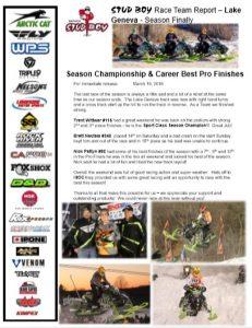 STUD BOY Race Team Report – Lake Geneva